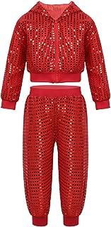 inlzdz Kids Girls Boys Hip hop Jazz Latin Performance Costume Sequins Hooded Top Jacket with Pants Street Dance Clothing Set