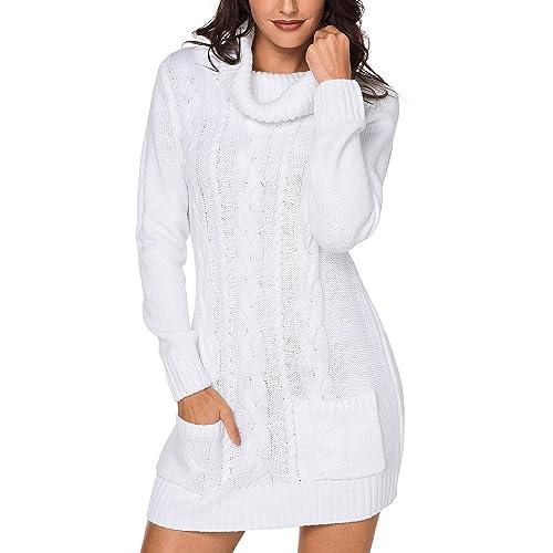 dc9ea30704f Azokoe Womens Winter Casual Slim Fit Knit Sweater Bodycon Mini Dress