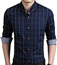 YTD Men's 100% Cotton Long Sleeve Plaid Slim Fit Button Down Dress Shirt