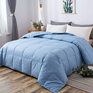 DOWNCOOL 100% Cotton Quilted Down Comforter with Corner Tabs - Blue Goose Duck Down Feather Filling - Lightweight and Medium Warmth Box Stitched All-Season Duvet Insert - Twin/Twin XL