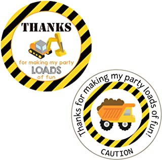 Construction Thank You Stickers Labels for Construction Site Birthday Party Supplies