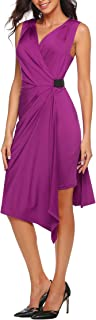 ANGVNS Women's V Neck Sleeveless Pleated Cocktail Tunic Dress with Side Elastic Belt