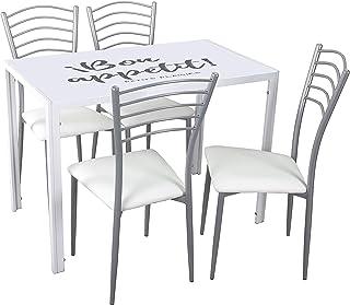Noorsk Design Conjunto de Mesa Kiev 105x60 + 4 sillas de Cocina París (Blanco-Blanco)