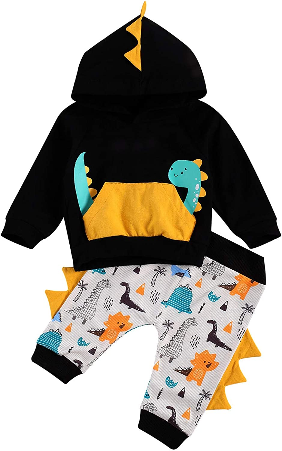 2Pcs Infant Baby Boy Outfits Long Sleeve Little Dinosaur Printed Hoodie Sweatshirt Pants Fall Winter Clothes Set