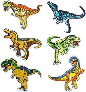 6 Pcs Rex Dinosaur Animal Kid Baby Boy Girl Patch Embroidered DIY Patches Cute Applique Sew Iron on Kids Craft Patch for B...