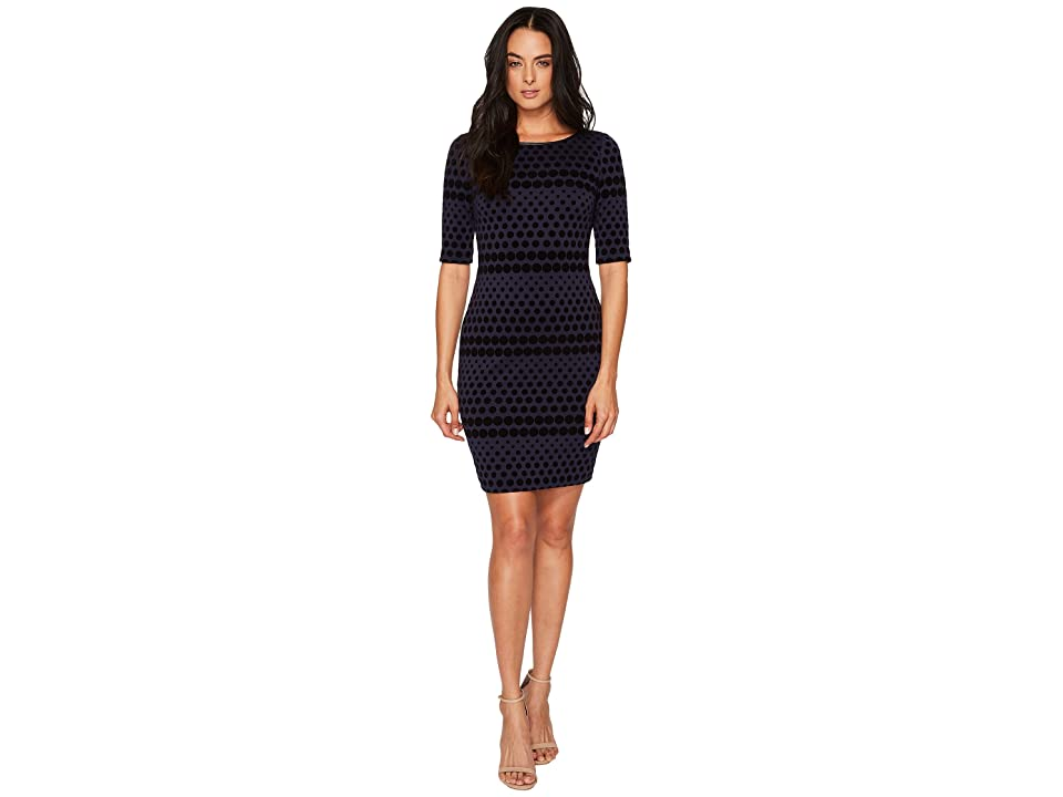 19a97cf077a7 Tahari by ASL Flocket Velvet Dotted Sheath (Navy/Black) Women's Dress