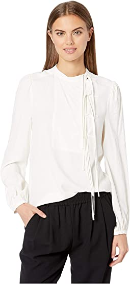 Long Sleeve Tie Front Blouse