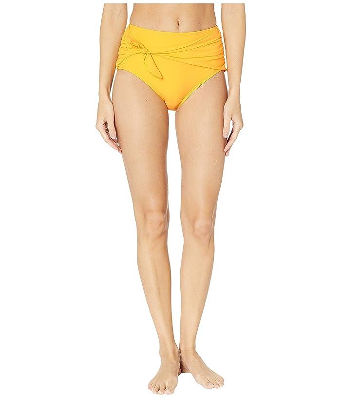 Kate Spade New York Grove Beach Tie High-Waisted Bikini Bottoms (Limone) Women