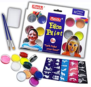 Face Paint kit for Kids, Kids Makeup face Paint 12 Color with Brush and Stencil, Non Toxic face Paint, Water Based and Easy wash Body Paint, Ideal face Paint and Body Paint for Halloween and Partys.