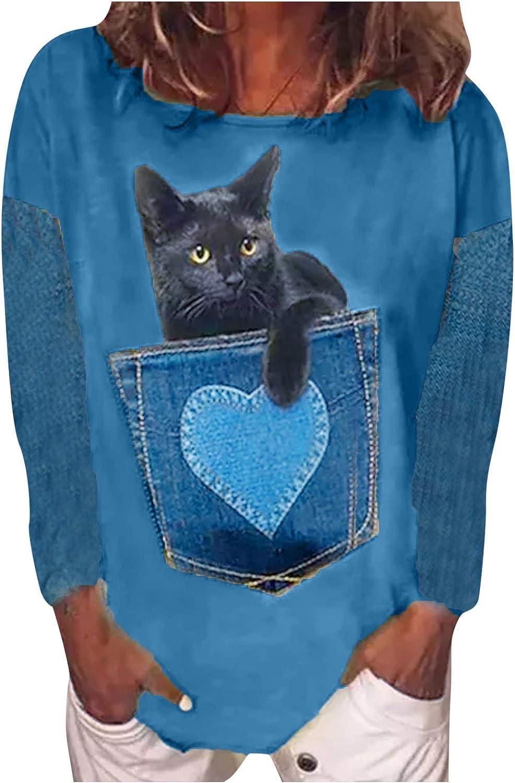 Long Sleeve Denim Print Patchwork T Shirts Women's Cat Shirts Novelty T-Shirt Cats Blouse Tops Shirt Gifts