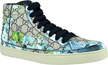 Gucci Men's Bloom Print Supreme GG Blue Canvas Hi Top Sneaker Shoes 407342 8470