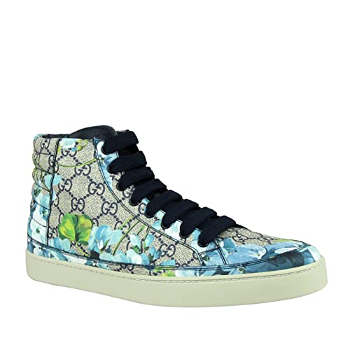 Gucci Mens Bloom Print Supreme GG Blue Canvas Hi Top Sneaker Shoes 407342 8470