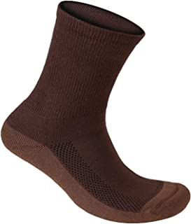 Orthofeet Padded Sole Non-Binding Non-Constrictive Circulation Seam Free Bamboo Socks Dark Brown, 3 Pack