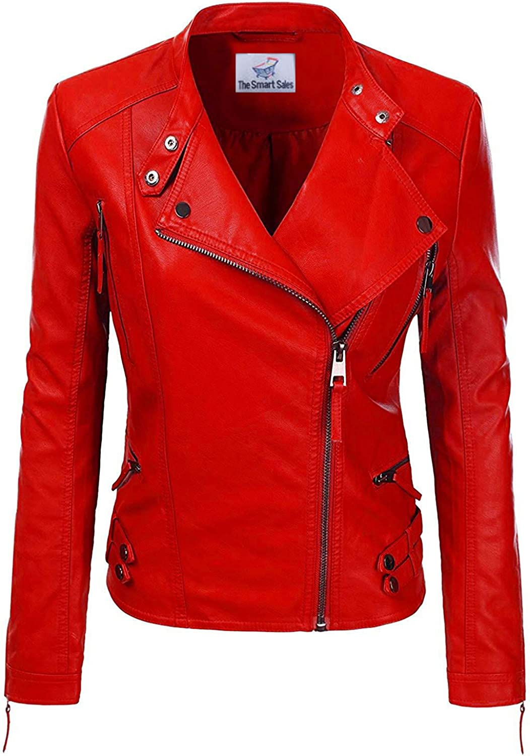 TheSmartSales Red Biker Faux Leather - Women Jacket 2021 autumn and High quality new winter new for