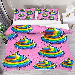 jonycm 3-Piece Bedspread Set Rainbow Poop Pattern Pink Background 3Pcs Edredón Moderno Personalizar Juego De Funda Nórdica Colcha con 2 Fundas De Almohada 1 Funda Nórdica Juego De Cama 177X218Cm