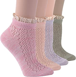 Socks Daze Lace Socks Novelty Frilly Floral Ruffle Cotton Ankle Gift Socks 4,5,6 Pairs