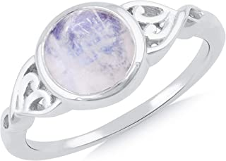 Silgo 925 Sterling Silver Rhodium Plated Rainbow Moonstone Statement Rings for Women