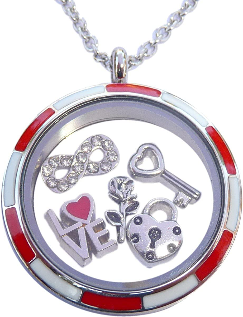 Valentines Set with Stainless 67% OFF of fixed price Steel Locket Nec Max 43% OFF 5 and Charms Plus