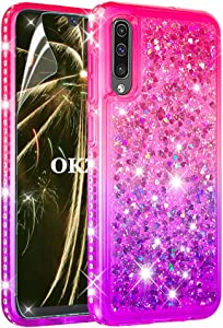 OKZone Case for Samsung Galaxy A50  Quicksand Series  Fashion Floating Quicksand Diamond Shiny Design Flexible TPU Bumper Shockproof Protective Phone Case  Pink Purple