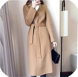Surprise S Woolen Coatt Female Cashmere Middle Long Sashes Jackets Outerwear