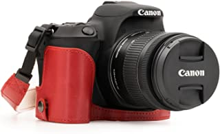 MegaGear Ever Ready Estuche de Piel para Cámara Canon EOS Rebel SL2 EOS 200D Kiss X9 - Estuche protector de fondo - Protección duradera contra caídas arañazos y golpes (Rojo)