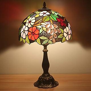 Siunwdiy Lampe Tiffany Vintage, 12 Pouces Fleurs Magnifiques Vitrail Abats-Jour et Pieds de Lampes, Lampe Art Deco pour Ch...