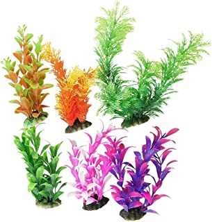 CNZ Assorted Color Aquarium Plastic Plant Decoration w Ceramic Base
