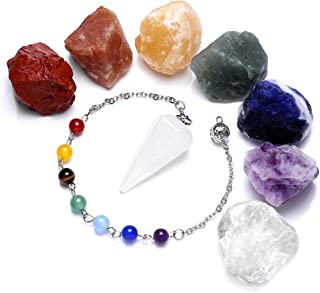Top Plaza 7 Chakra Healing Raw Gemstones and Natural Clear Quartz Dowsing Pendulum Hexagonal Point Stones Pendant Reiki Ba...