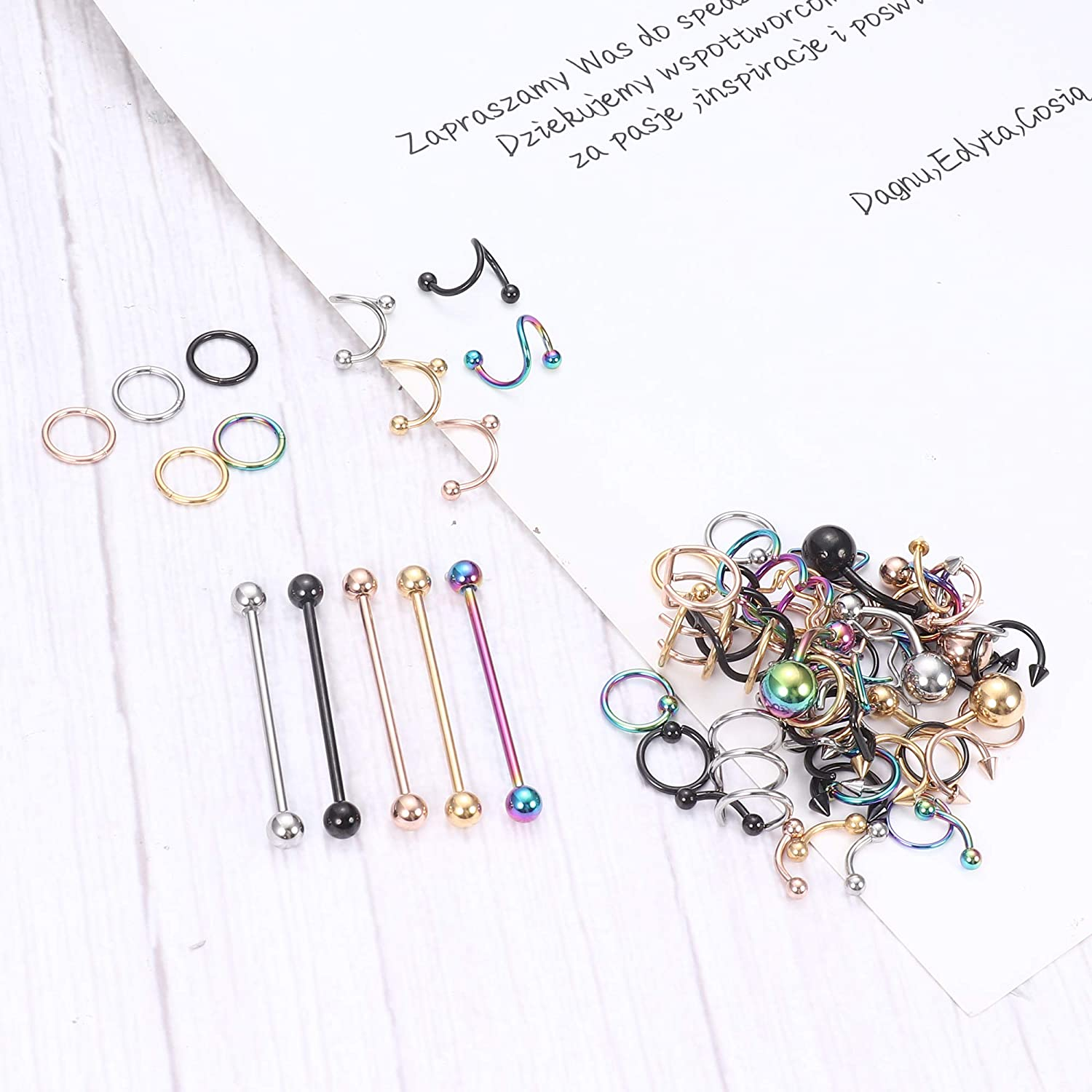 Drperfect 100PCS Piercing Kit Professional Surgical Steel 14G 16G 20G Piercing Needles Nose Septum Eyebrow Lip Belly Button Ring Cartilage Tragus Helix Daith Rook Earring Body Jewelry Piercing Tools