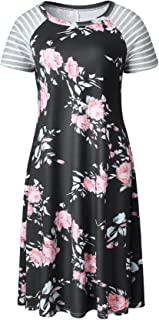 7TECH Round Collar Long Sleeve A-Line Print Dress, Black