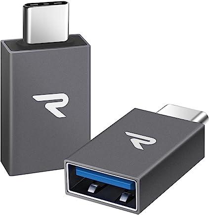 Rampow Adaptateur USB C vers USB 3.1 [OTG] - Lot de 2 - Adaptateur USB Type C Mâle vers USB A Femelle pour MacBook Pro 2018/2017/2016, Google Chromebook Pixelbook, Google Pixel - Gris Sidéral