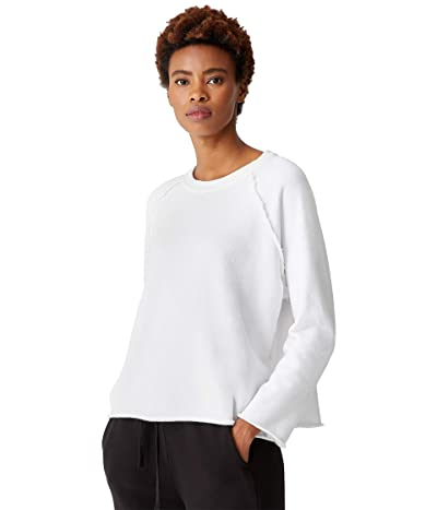 Eileen Fisher Organic Cotton French Terry Boxy Crew (White) Women