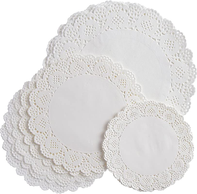 Bememo 108 Pieces White Round Paper Doilies Lace Doily Cake Packaging Paper Pad For Party Wedding Decorations 3 Sizes