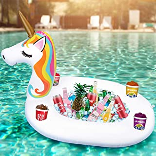 Inflatable Unicorn Serving Bar Ice Buffet Cooler Salad Food Drink Holder Beverage Fruit Candy Floating Tray Pool Party Pic...