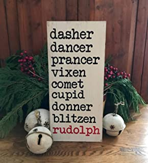 reindeer names wood sign