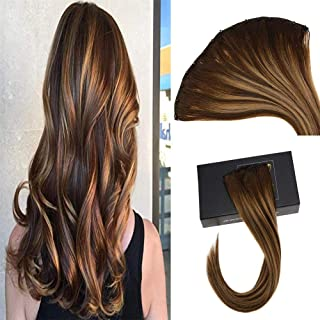 Sunny 24inch Micro Bead Weft Hair Extensions Brown Color #4 Dark Brown Fading to #27 Caramel Blonde Mixed #4 Brown EZ Hair Weft with Micro Beads 12inches Width 50g Weight