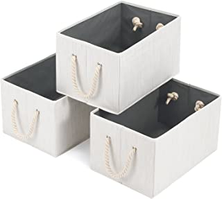 Magicfly Foldable Storage Baskets for Shelves, Decorative Polyester Fabric Storage Bins with Cotton Rope Handles Closet Clothes Organizer Boxes, 14.4 X 10 X 8.3 inch,Beige, Pack of 3