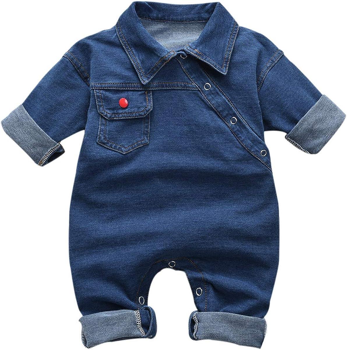 Haokaini Newborn Baby Turn Down Max 88% OFF Collar Cool Jeans Bo Romper Boys Overseas parallel import regular item