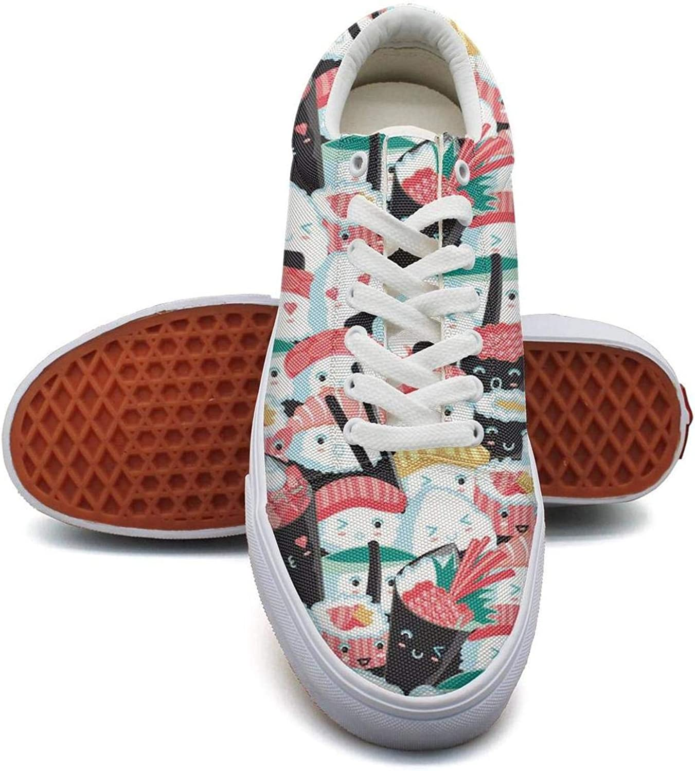 DXQIANG Womens Pretty Canvas Sneaker Flat Sports Sushi Cute Japanese Food Awesome Kawaii Food