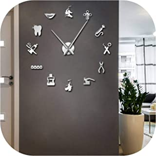 Dentist Tools Frameless 3D Wall Clock Dental Practitioners Clinic Stomatological Hospital Orthodontics Room Art Decor Clock,Silver,47Inch