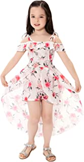 NoNoAnt Kids Girls Summer Sling Sweet Floral Dress Elegant Girl Princess Ruffles Irregular Culotte Dresses 3-8 Year