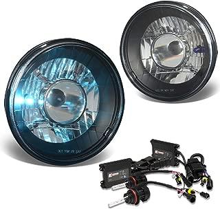 7X7 Inch Round Projector Headlight (Black Housing)+10000K HID+Slim Ballasts