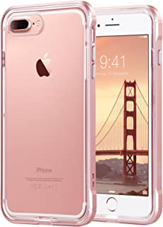ULAK iPhone 8 Plus Case, iPhone 7 Plus Case Clear, Slim Fit Shockproof Bumper PC Frame TPU Back, Proffesional Protective Case Cover for Apple iPhone 7 Plus/8 Plus 5.5 inch, Rose Gold Frame