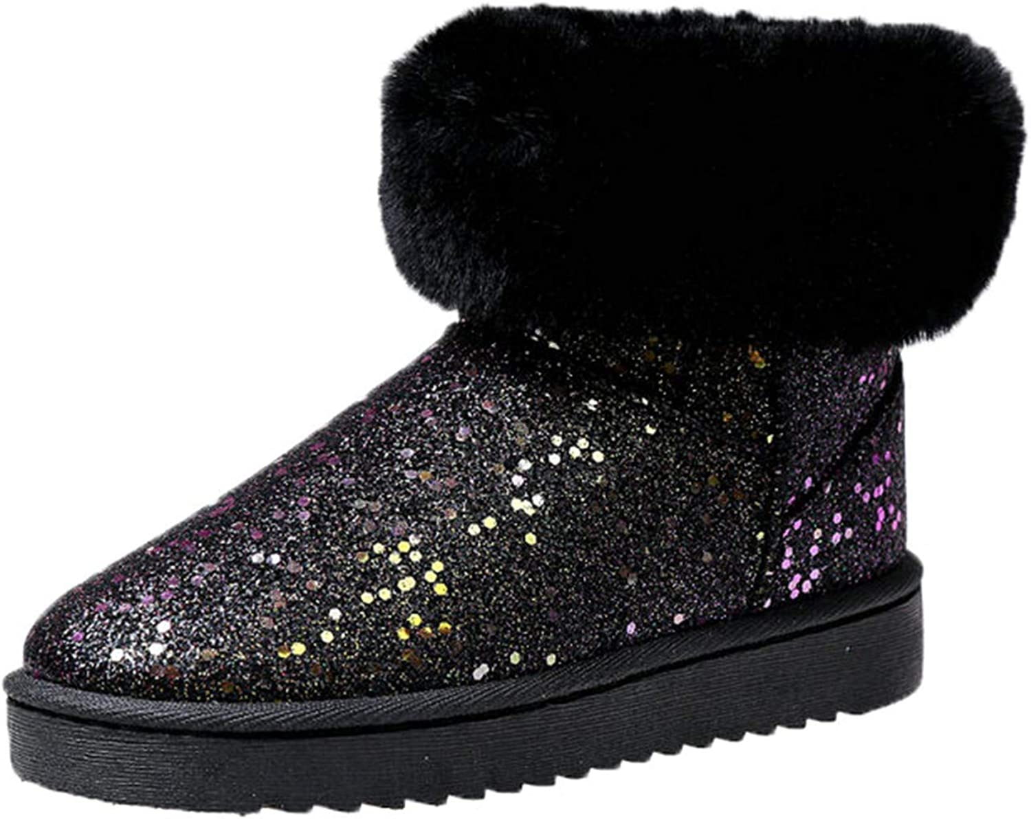 DATAIYANG Women Snow Boots Sequin Flash Cloth Warm Plush for Cold Winter Women's Boots Ladies Brand Wedge shoes