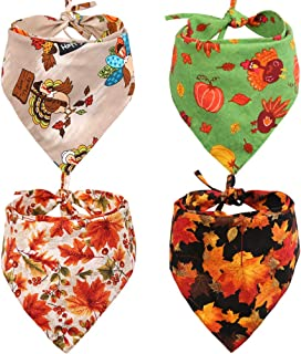KZHAREEN 4 PCS/Pack Thanksgiving Dog Bandana Reversible Triangle Bibs Scarf Accessories for Dogs Cats Pets