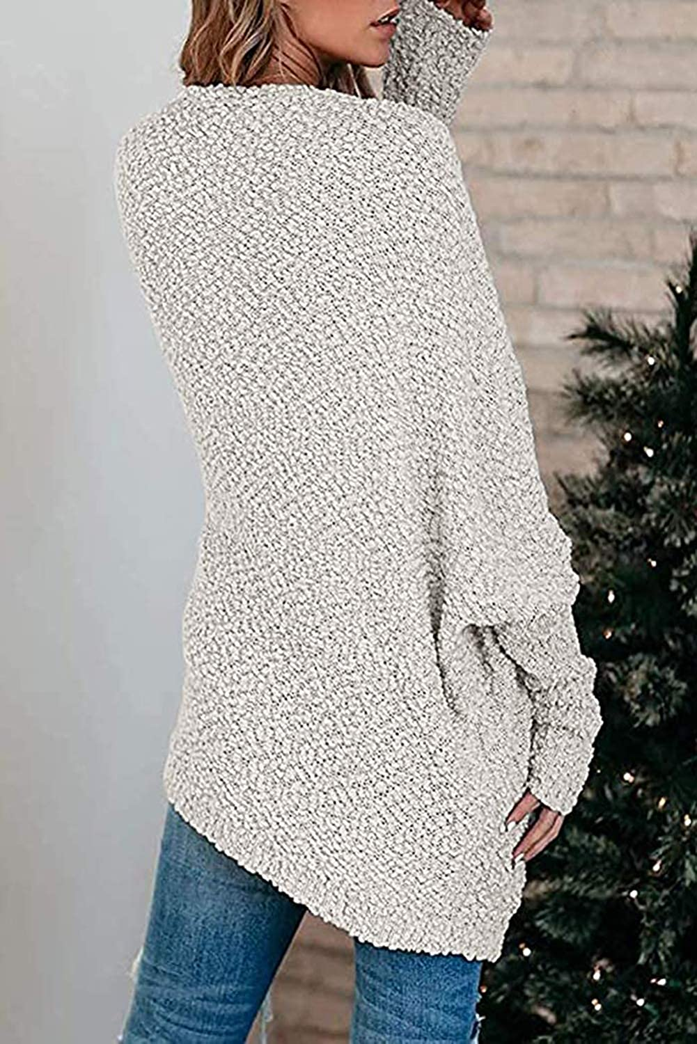 ZESICA Women's Popcorn Long Sleeve Open Front Chunky Knit Oversized Cardigan Sweater Coat with Pockets
