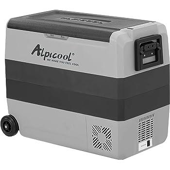 Alpicool Dual Temperature Control T60 Portable Refrigerator 63 Quart(60 Liter) Compact Fridge Mini Freezer for Travel,Camping,Fishing, Outdoor -12/24V DC