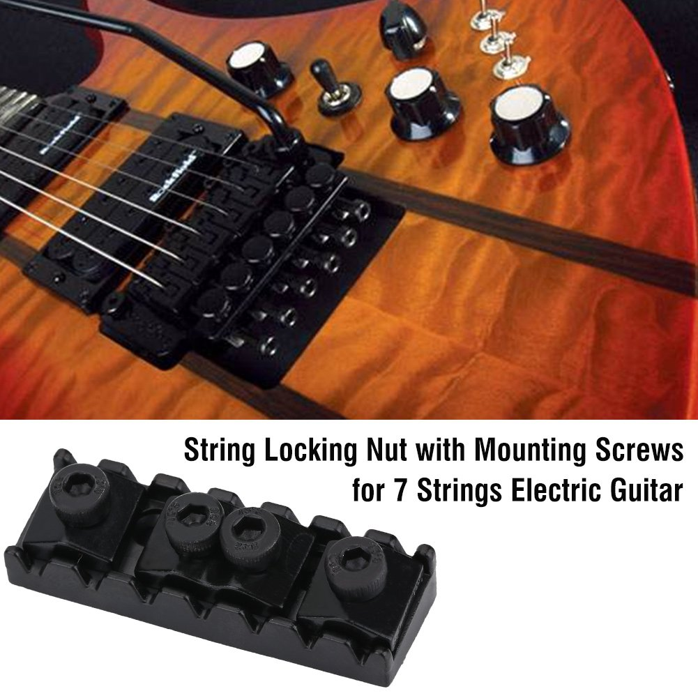 Cheap 2pcs Electric Guitar Locking Nut Black String Locking Nut with Mounting Screws for Tremolo Bridge 7 Strings Electric Guitar Instruments Accessory Black Friday & Cyber Monday 2019