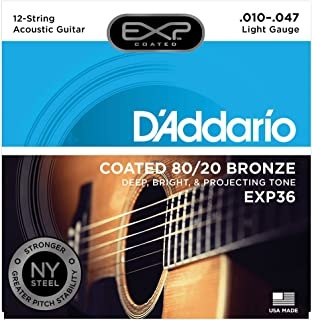 D'Addario EXP36 with NY Steel 80/20 Bronze 12-String Acoustic Guitar Strings, Coated, Light, 10-47