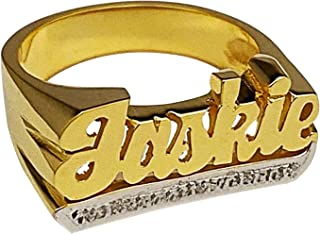 Custom Name Rings Personalized Customized Initial Ring with Heart Gold-Plated Nickel-Free Rings for Women Teen Girls